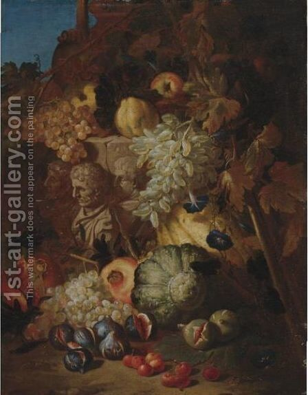 Still Life Of Fruit In A Landscape With The Fragment Of A Bas-Relief by Abraham Brueghel - Reproduction Oil Painting