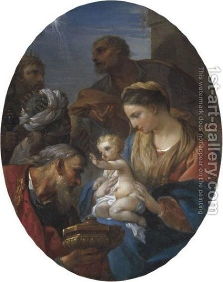 Adoration Of Magi by Charles Joseph Natoire - Reproduction Oil Painting