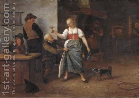 The Interior Of An Inn, With An Old Man Harrassing The Landlady by (after) Jan Steen - Reproduction Oil Painting