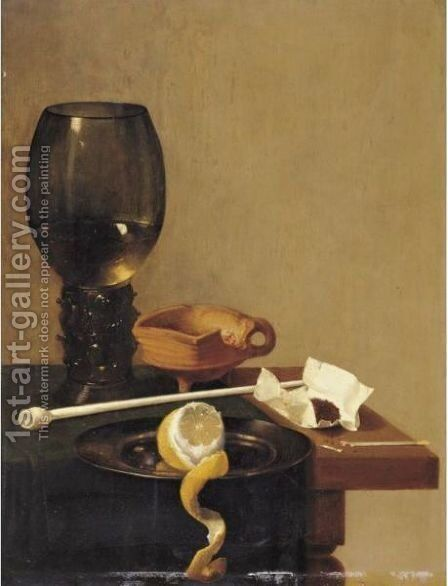 Still Life With Roemer, Tobacco, A Clay Pipe And A Peeled Lemon On A Pewter Plate by (after) Jan Jansz. Van De Velde - Reproduction Oil Painting