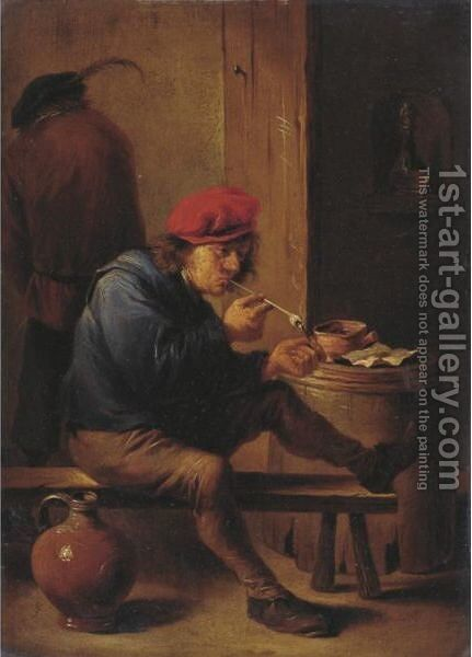 Smoker Lighting A Pipe by (after)  David The Younger Teniers - Reproduction Oil Painting