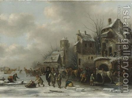 Winter Landscape With Two Gentleman And Peasants On A Frozen River By A Village by Claes Molenaar (see Molenaer) - Reproduction Oil Painting