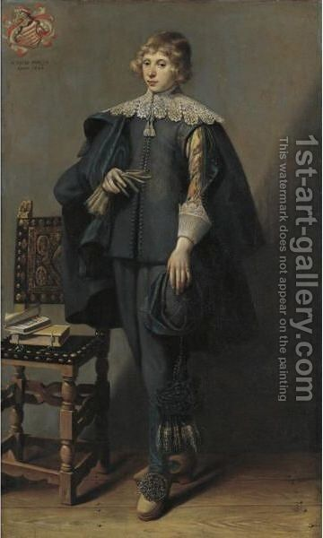 Portrait Of A Young Man by Dutch School - Reproduction Oil Painting