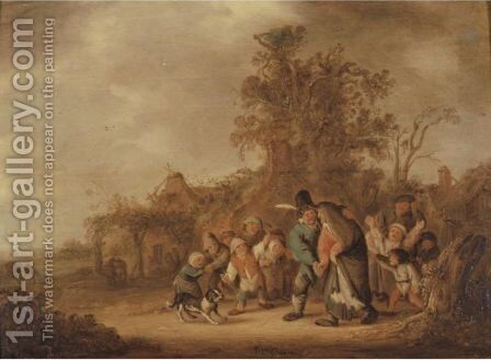 Peasant Guiding His Drunken Wife, Ridiculed By A Group Of Children by (after) Isaack Jansz. Van Ostade - Reproduction Oil Painting