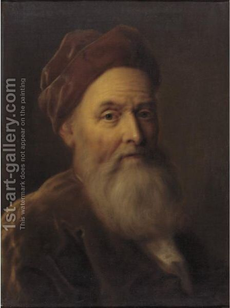 Portrait Of A Man In A Red Beret by Balthasar Denner - Reproduction Oil Painting