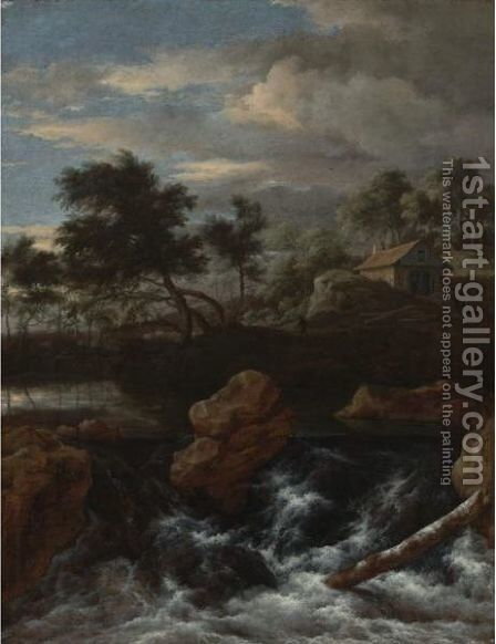 A Rocky River Landscape With A Waterfall by Jacob Van Ruisdael - Reproduction Oil Painting