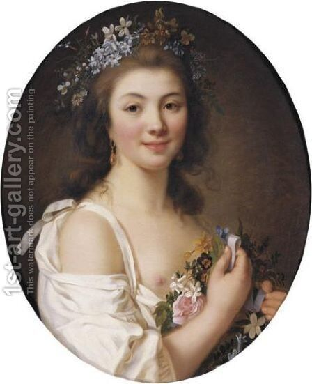 Portrait Of Madame De Genlis by Marie-Victoire Lemoine - Reproduction Oil Painting