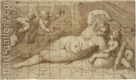 Venus And Cupid by Jacopo d'Antonio Negretti (see Palma Giovane) - Reproduction Oil Painting