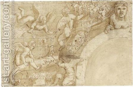 Putti Playing With Vines And A Cornucopia, A Sphinx Above An Arch To The Right by Giulio Pippi (Giulio Romano) - Reproduction Oil Painting
