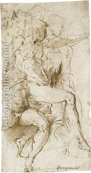 Seated Male Nude In Profile To The Right And A Seated Female Nude Seen From The Front, Four Other Figures Beyond by Girolamo Francesco Maria Mazzola (Parmigianino) - Reproduction Oil Painting