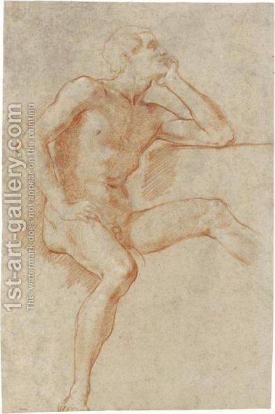 Study Of A Male Nude, Seated, Resting His Chin On His Left Hand by Baldassarre Franceschini - Reproduction Oil Painting