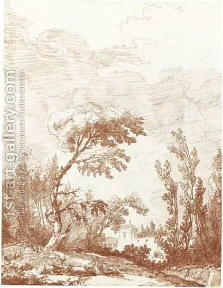 A Wooded Italian Landscape With Seated Figures In The Foreground And A Villa Beyond by Hubert Robert - Reproduction Oil Painting