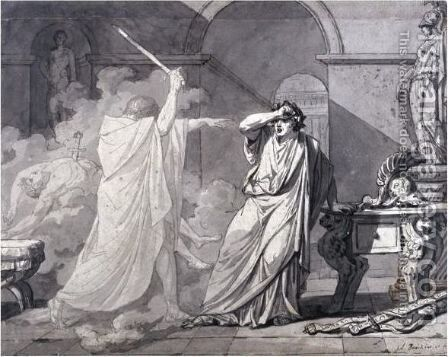 The Ghost Of Septimus Severus Appearing To Caracalla, After The Murder Of His Brother Geta by Jacques Louis David - Reproduction Oil Painting