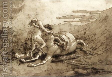 A Centaur And A Satyr In A Landscape by Giovanni Domenico Tiepolo - Reproduction Oil Painting