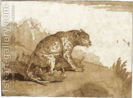A Leopardess With Her Cubs In A Landscape by Giovanni Domenico Tiepolo - Reproduction Oil Painting