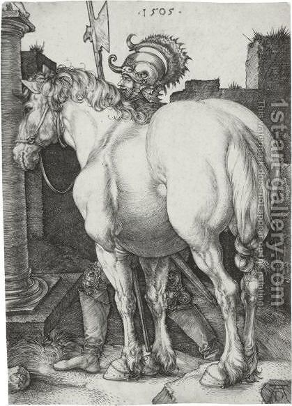 The Large Horse 3 by Albrecht Durer - Reproduction Oil Painting