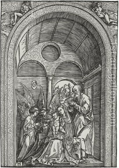 The Holy Family With Two Angels In A Vaulted Hall 2 by Albrecht Durer - Reproduction Oil Painting