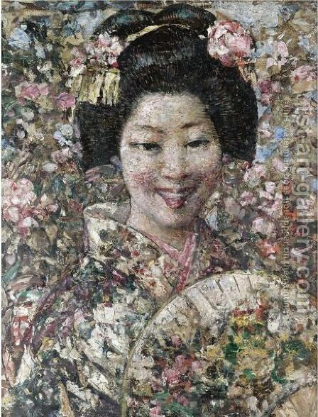 A Smiling Geisha by Edward Atkinson Hornel - Reproduction Oil Painting