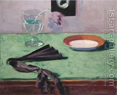 Still Life With A Tulip And A Black Fan by Francis Campbell Boileau Cadell - Reproduction Oil Painting