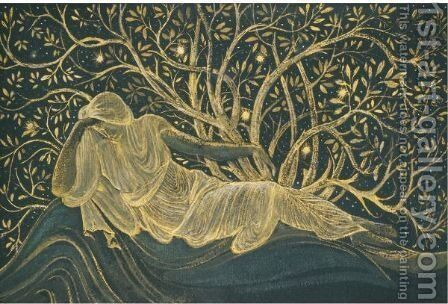 A Reclining Female Figure by Sir Edward Coley Burne-Jones - Reproduction Oil Painting