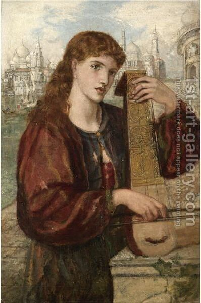 Girl With A Psaltery by Henry Treffry Dunn - Reproduction Oil Painting