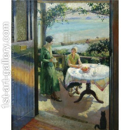 The Blue Door by Harvey Harold - Reproduction Oil Painting