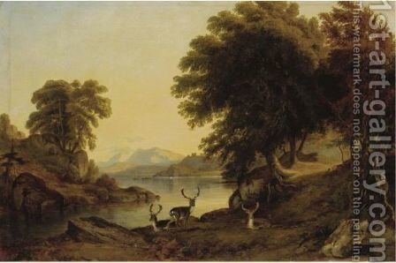 Deer By The Banks Of A Lake by Jacob Thompson - Reproduction Oil Painting