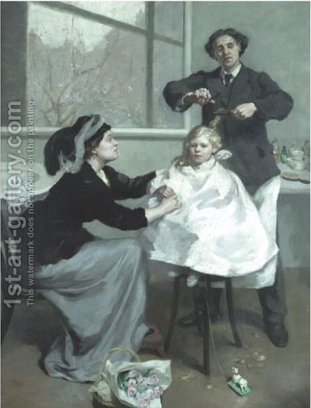 The First Haircut by Betty Maud Christian Fagan - Reproduction Oil Painting