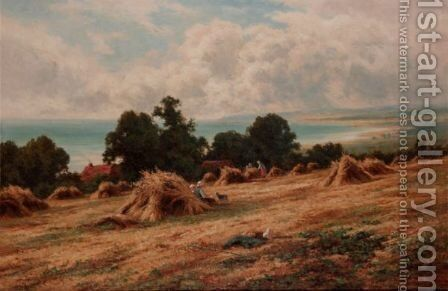 Harvesting On The Sussex Coast, Near Worthing by Henry Hillier Parker - Reproduction Oil Painting