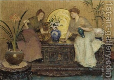 The Gossip by Hector Caffieri - Reproduction Oil Painting