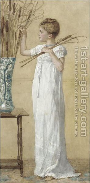 Arranging The Bullrushes by Edward Killingworth Johnson - Reproduction Oil Painting