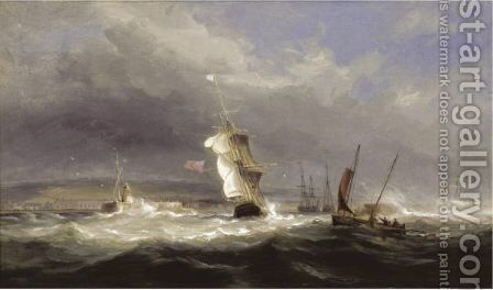 Shipping In A Squall Off Swansea Harbour by James Harris of Swansea - Reproduction Oil Painting