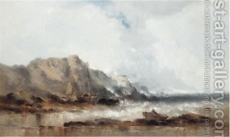 Stormy Seas With Fishing Boats by William McAlpine - Reproduction Oil Painting