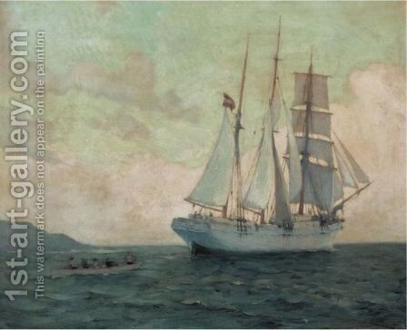 Rowing Ashore, St Ives by Edmund G. Fuller - Reproduction Oil Painting