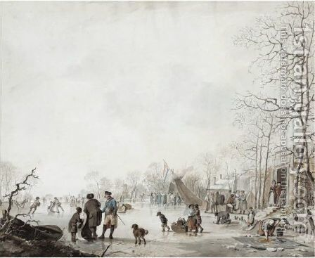 Ice Skating On The Lake by Jacob Cats - Reproduction Oil Painting