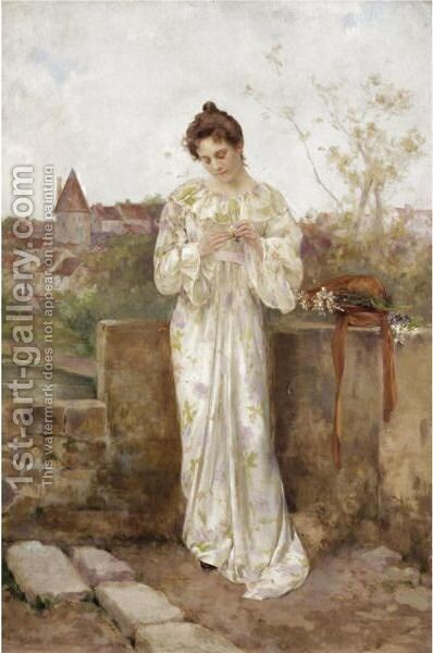 He Loves Me, He Loves Me Not by Albert Emile Artigue - Reproduction Oil Painting