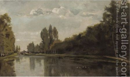 River Landscape by Charles-Francois Daubigny - Reproduction Oil Painting