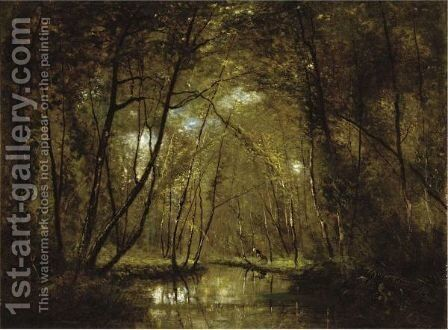 Wooded Riverscape With Figures by Cesar De Cock - Reproduction Oil Painting