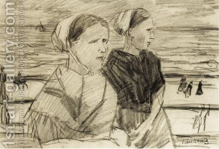 Scheveningen Fisherwomen, Double Sided by Isaac Israels - Reproduction Oil Painting