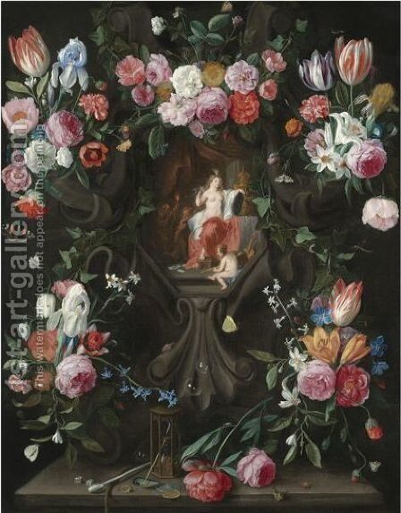 A Garland Of Flowers, Including Irises, Parrot Tulips And Roses, Surrounding A Stone Niche Inset With A Vanitas Scene by Jan van Kessel - Reproduction Oil Painting