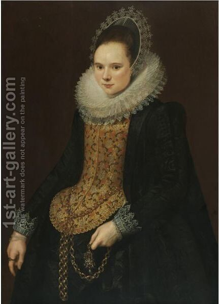 Portrait Of A Lady, Three Quarter Length, In An Embroidered Mill Ruff, A Black Dress And A Bonnet by Cornelis van der Voort - Reproduction Oil Painting