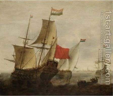 A Dutch Man-Of-War And Merchantmen Off Amsterdam by Jacob Adriaensz. Bellevois - Reproduction Oil Painting