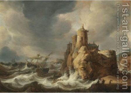 Shipping In A Storm Beneath A Clifftop Castle by Jan Abrahamsz. Beerstraaten - Reproduction Oil Painting