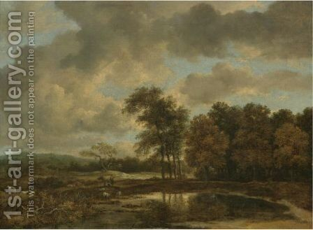 Landscape With A Shepherd Watering His Flock By A Pond At The Edge Of A Wood by Jacob Van Ruisdael - Reproduction Oil Painting