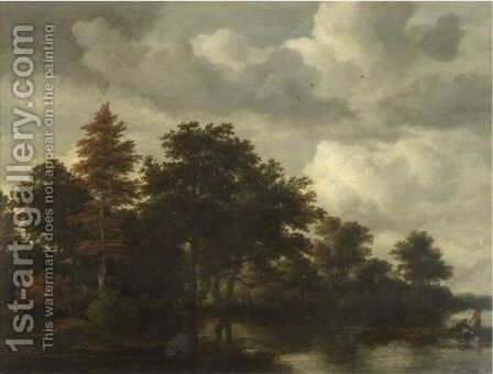 A Wooded Landscape With Figures By A River by Jacob Van Ruisdael - Reproduction Oil Painting