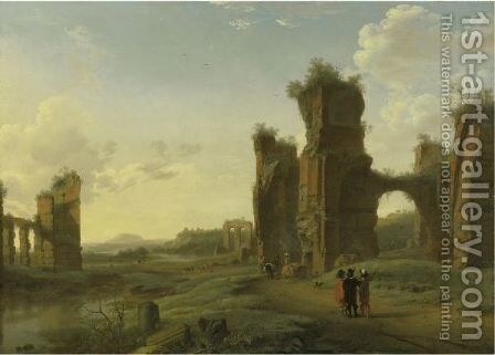 An Italianate Landscape With Three Figures Surveying The Land by (after) Herman Van Swanevelt - Reproduction Oil Painting