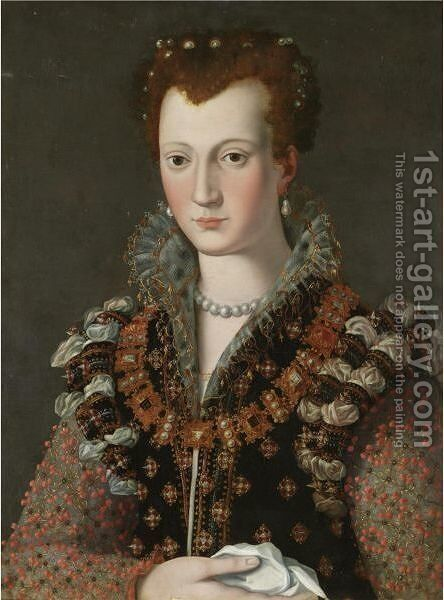 Portrait Of Camilla Martelli (1545-1590) by (after) Alessandro Allori - Reproduction Oil Painting