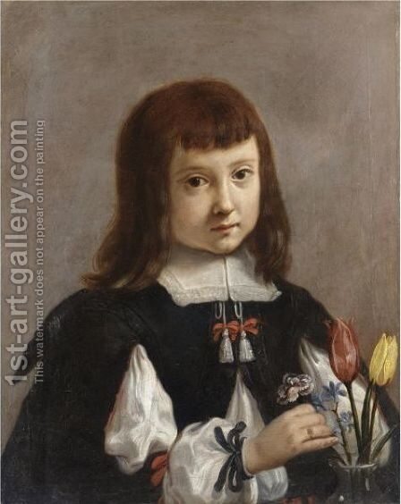 Portrait Of A Young Boy, Half Length, Arranging Flowers In A Vase by Elisabetta Sirani - Reproduction Oil Painting