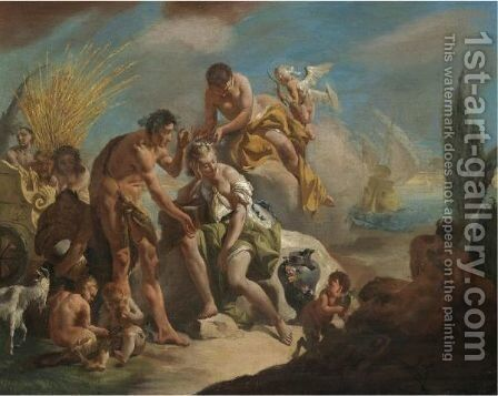 Bacchus And Ariadne 2 by Giovanni Battista Tiepolo - Reproduction Oil Painting