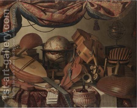 A Still Life With Musical Instruments Including A Viola, A Violin, A Cello And A Selection Of Lutes by Bartolomeo Bettera - Reproduction Oil Painting